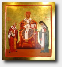 Christ the Great High Priest with Saints Nicholas and Nectarios